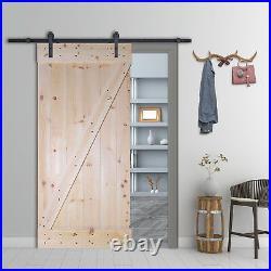Z-Bar Solid Core Knotty Pine Interior DIY Barn Door Slab with Hardware Kit